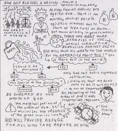 HOW GOD BLESSES A NATION: sketchnote based on sermon by Dr. Alex... Scripture Journal, Bible Verses, Psalm 2, Sketch Notes, Bible Studies, Journaling, Prayers, Spirituality, Doodles