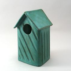 Stoneware Bird House by Cheryl Wolff: Ceramic Birdhouse available at www.artfulhome.com