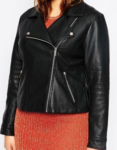 Image 3 of ASOS CURVE Ultimate Biker Jacket In Leather Look