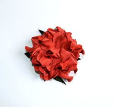 hair clip barrette coral orange hairpins от jewelryleather на Etsy