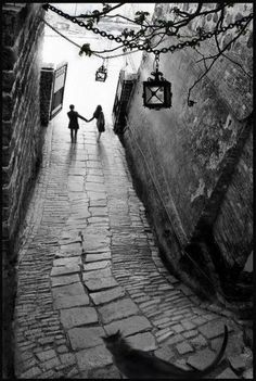 engagement proposals, wedding honeymoon photography ideas, black white photo, couple holding hands waling down long stone village street, lantern overhead. Fan Ho, Street Photography, Art Photography, Wedding Photography, Black And White Pictures, Belle Photo, Great Photos, Black And White Photography, Beautiful Pictures