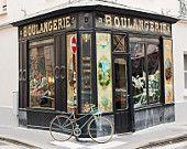 Paris Photography, boulangrie bike stop, Paris, France, Paris bakery in the marais, paris wall art, paris decor, paris bike photo