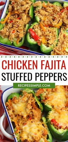 Low Unwanted Fat Cooking For Weightloss Chicken Fajita Stuffed Peppers Are Full Of Flavor With Red, Yellow And Green Bell Peppers, Stuffed With Fajita Seasoned Chicken, Rice And Shredded Mexican Cheese Chicken Stuffed Peppers, Stuffed Green Peppers, Chicken Rice, Green Bell Peppers, Chicken With Bell Peppers, Recipes With Green Peppers, Healthy Stuffed Bell Peppers, Green Pepper Recipes, Mexican Stuffed Peppers