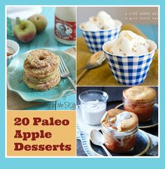 20 apple dessert recipes (gluten-free, paleo-friendly, vegan-friendly) -- i cannot wait to make a few of these! Favorite pin out of all of my pins Paleo Dessert, Paleo Menu, Apple Dessert Recipes, Paleo Sweets, Köstliche Desserts, Apple Recipes, Delicious Desserts, Paleo Food, Paleo Diet