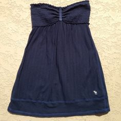 Abercrombie & Fitch Tube Top Super cute , navy, Abercrombie tube top that has a tie in the back. I wore this twice, good condition!!! Abercrombie & Fitch Tops