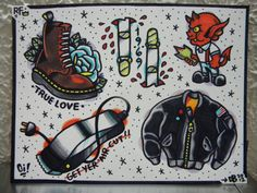 Original Skinhead Tattoo Flash Sheet Full by AtomicRocketPunch, $35.00