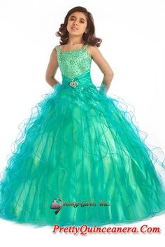 little girl birthday Pageant dresses,Beautiful ball gown square neck floor length little girldresses Y063015,discount designer quinceanera ball gowns,Embellishment:beading Silhouette:ball gown         Neckline:square neck Train:floor length Sleeves:sleeveless