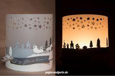 light shaddow christmas landscape - Windlicht1 - lygte lys LED batteri drevet lys - vellum papir landskab jul jule lys