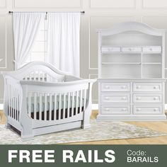$1998 Baby Appleseed Davenport 3 Piece Nursery Set - 3-in-1 Convertible Crib, Double Dresser and Hutch in Pure White