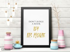 Don't Judge A Book By Its Movie - Movie Wall Poster - Quote Poster - Print for Living Room - Art - Digital Art Print Dog spaces in house Dream house ideas Quote Posters, Quote Prints, Poster Prints, Art Print, Boho Chic Living Room, Decor Home Living Room, Office Wall Art, Inspirational Wall Art, Don't Judge