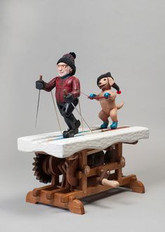 Beebe Loves to Skijor cute whimsical winter theme automata mechanical art