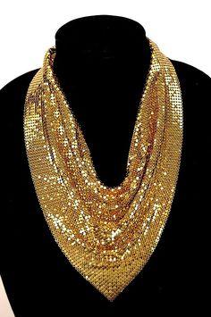 Whiting Davis gold mesh scarf/bib