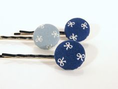 Blue Set of  Hair Pins Fabric Covered Button Bobby by JoannaBizu, $6.70