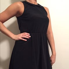 Black Peter Pan collar mini This little black number is sooo fun!! Has a bit of business in the front and party in the back with the open slit. It is a hi-lo dress. H&M Dresses High Low