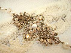 Bridal bracelet vintage style bracelet with by treasures570, $50.00