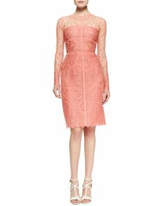 Sheer-Top Long-Sleeve Lace Dress by Elie Saab at Neiman Marcus.