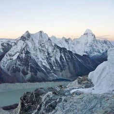 #Everest_Base_Camp_Trek : Make your life time journey in Nepal with us where you can have a oppertunity to touch the world highest mountain Mt. Everest 8848m. in picture Imja lake and Mt. Amadablam seen from crampon point on the way to Island peak summit. #EBC_Trek #clearskytreks #himalaya_hiking #nepal_travel.