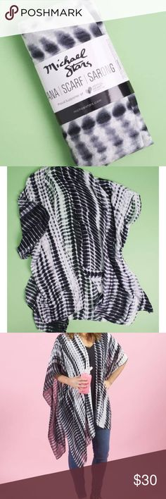 NWT Michael Stars Ruana scarf, sarong, or wrap! This Ruana is a multi-use product that can work as a scarf, sarong, or wrap! It measures 41″ x 72″and it is 100% Viscose. Michael Stars Tops