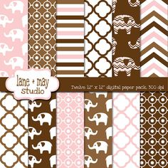 pink and brown elephants digital scrapbook papers by lane + may, $7.00