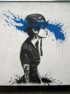 #graffiti #Poland #art #girl #helmet #tattoo