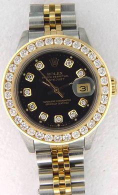 615550e5be8f Datejust Two Tone Rolex Womens Ladies Watch Diamond Dial  amp  Pave Diamond  Bezel  rolex