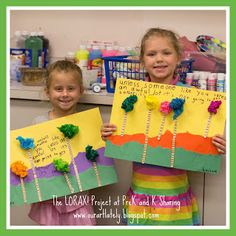 great kindergarten blog post with photo examples of fun projects for earth day based on Dr. Seuss