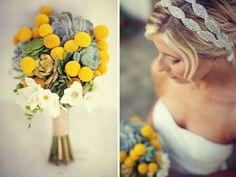 Buquê de noiva em amarelo e cinza com suculentas