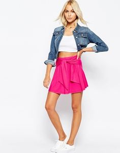 ASOS Skater Skirt in Jersey with Tie Knot Waist Detail