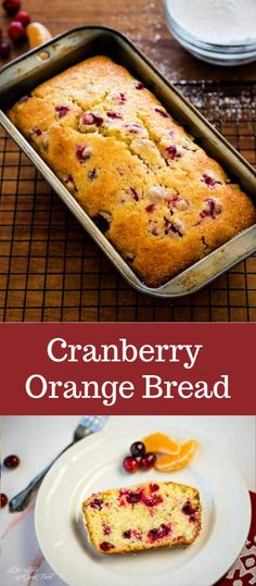 Use sweet oranges and tart cranberries for a bit of freshness in this moist and delicious Cranberry Orange Bread topped with a zesty orange glaze. This easy quick bread recipe is fantastic for breakfast or brunch, or even served as a coffee break snack. Köstliche Desserts, Delicious Desserts, Dessert Recipes, Yummy Food, Quick Bread Recipes, Baking Recipes, Easy Bread, Cookie Recipes, Cranberry Orange Bread