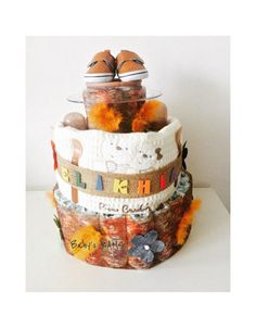 Gâteau de couches mixte orange marron et blanc Baby Shower