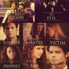 """#TVD The Vampire Diaries  Stefan,Damon,Klaus's helpers,Alaric,Elena,Jenna, Bonnie,Katherine & Elijah  """"The good, the evil, the solider, the martyr, the victim, the prophet, the liar, the honest"""""""