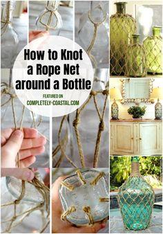 Twine Bottles, Wine Bottle Vases, Glass Bottle Crafts, Lighted Wine Bottles, Bead Bottle, Bottle Caps, Coastal Living, Coastal Decor, Rope Decor