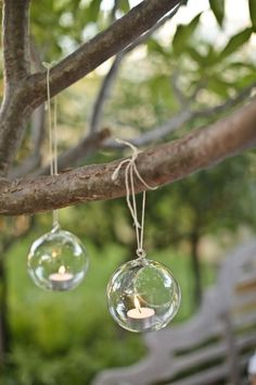 image of Glass Hanging Tealights for Garden Wedding Decoration Trendy Wedding, Our Wedding, Dream Wedding, Chic Wedding, Wedding Stuff, Wedding Flowers, Hanging Candles, Mini Candles, Tea Candles