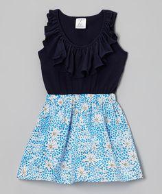 Look what I found on #zulily! Annapolis Brand Blue Giraffes & Wildflowers Dress - Infant, Toddler & Girls by Annapolis Brand #zulilyfinds