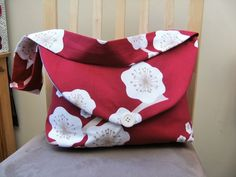 """Classic Cotton Handbag  """"Alice""""  in red with white large Blossom £12.00"""