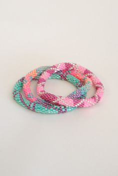 Teal and Pink Lily & Laura Bracelets