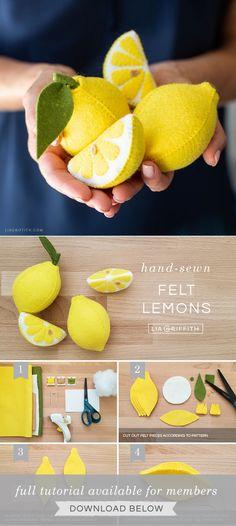 The Cutest Felt Lemons & Lemon Slices - Lia Griffith Felt Crafts Patterns, Felt Crafts Diy, Felt Diy, Handmade Felt, Crafts To Do, Lemon Crafts, Felt Fruit, Felt Play Food, Needle Felted
