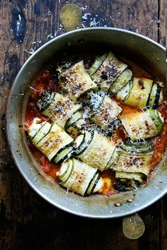 zucchini involtini, just baked