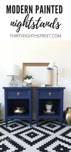 $50 Nightstand Makeovers! Modern Painted Nightstands With Country Chic Paint. | Thirty Eighth Street