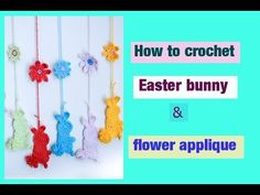 How to crochet easy bunny & flower applique - crochet tutorial - Easter decoration - YouTube