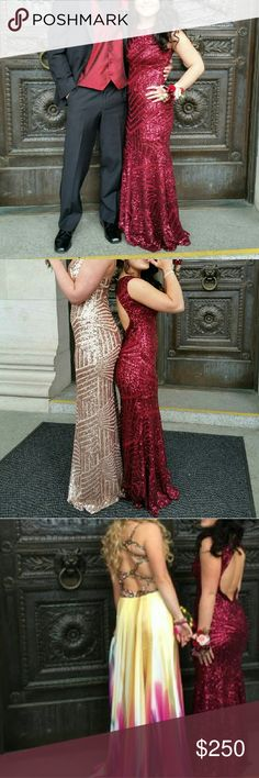 Formal dress for sale! Booty poppin burgundy sparkly semetrical dress with open key hole back. Only worn for my senior prom. Asking $250 or best offer Dresses Prom
