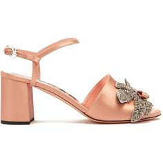 Rochas Crystal-embellished satin sandals (£495) ❤ liked on Polyvore featuring shoes, sandals, rochas shoes, crystal embellished sandals, rochas, satin sandals and satin shoes