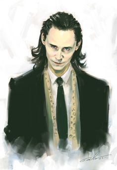 Artist's conception of our Boss, Loki Laufeyson, in suit and scarf. (Seems to be based on the Stuttgart scene in The Avengers....)