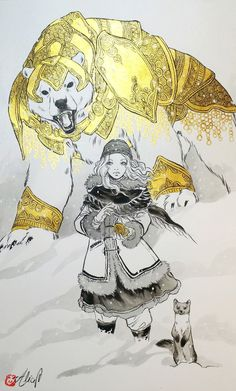 """I am Alice, from France, I am drawing comics and i am published since My favorite theme for art is fantasy, I love working with watercolors but at the moment , I really enjoy mixing inking and golden hues. Philip Pullman, Anne Marie Duff, Ruth Wilson, Alice, Lin Manuel, Illustrations, Illustration Art, Iorek Byrnison, His Dark Materials Trilogy"