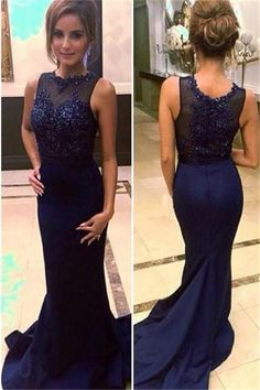 Blue Beading Court Train Mermaid Satin Prom Dresses Prom Gowns,Prom Dresses, Cheap Prom Dresses, Long Prom Dress