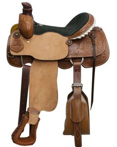 "16"" Circle S roper saddle with floral and basket weave tooling. This saddle features medium leather with basket and floral tooling on skirts, pommel and on the silver laced rawhide cantle. Rough out f"