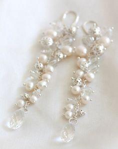 Vintage style bridal earrings - wedding pearl earrings