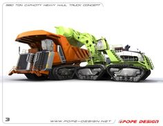 560 ton capacity heavy haul truck concept by Jon Pope at Coroflot.com