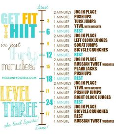 Level one, two, and three 30 minute at home workout plans with free printables. Start with the level that's right for you! #fitness #health #workouts