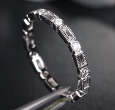 Baguette Diamond Wedding Band in 14k White Gold  by TheLOGR, $585.00